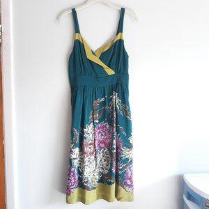 Anthropologie Maeve 100% Silk Green Floral Dress 6